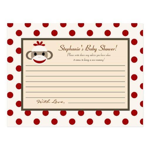 Mono rojo del calcetín de la tarjeta programable d tarjetas postales