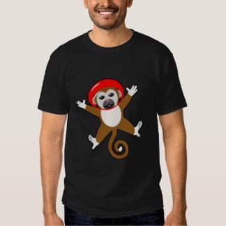 Mono rojo del espacio - del nombre parte posterior remeras