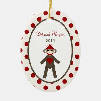 Mono rojo personalizado del calcetín del ornamento adorno ovalado de cerámica