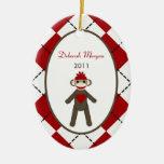 Mono rojo personalizado del calcetín del ornamento ornamento para reyes magos