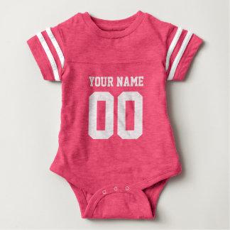 Mono rosado de encargo del bebé del número del polera