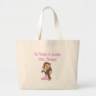 Mono rosado de la mamá y del papá bolsa tela grande