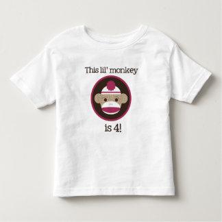 Mono rosado del calcetín: Cuarta camiseta del Playeras