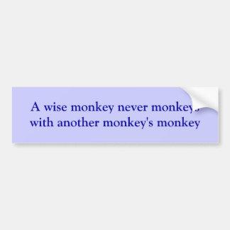Mono sabio pegatina para auto