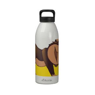 Mono soñoliento botella de agua reutilizable
