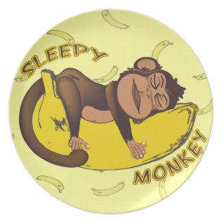 Mono soñoliento plato para fiesta