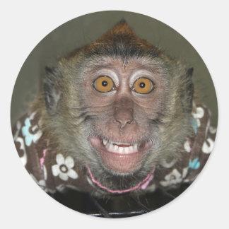 Mono sonriente pegatina redonda