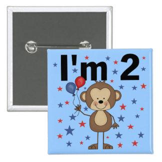 Mono soy 2 camisetas y regalos pin cuadrado