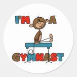 Mono soy camisetas y regalos de un gimnasta pegatina redonda