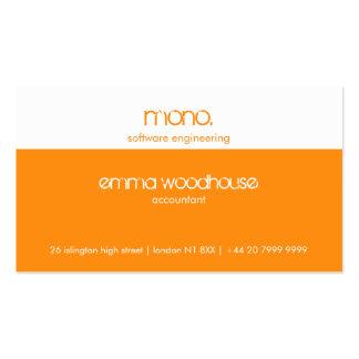 Mono tarjeta de visita del naranja y del blanco