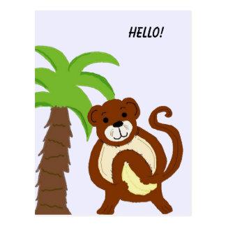 Mono tonto con la palmera postal
