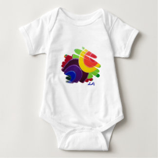 Mono tropical del bebé de los espirales remera