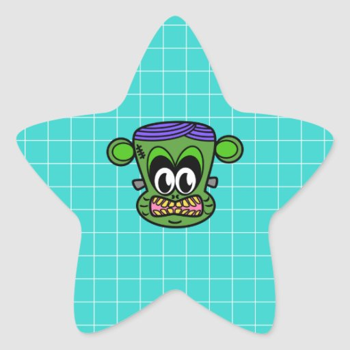 Mono verde de Frankenstein en la teja azul Calcomania Forma De Estrella Personalizadas