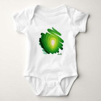 Mono verde del bebé de los espirales del arte del remeras