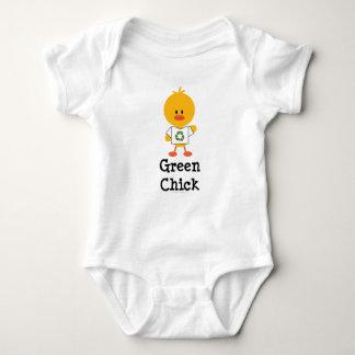 Mono verde del bebé del polluelo mameluco de bebé