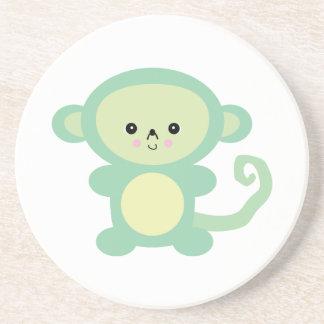 mono verde del kawaii posavasos de arenisca