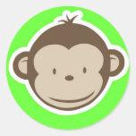Mono verde etiqueta redonda