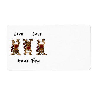 Mono vivo del amor etiqueta de envío