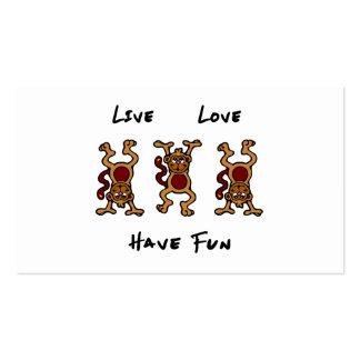 Mono vivo del amor tarjetas de visita