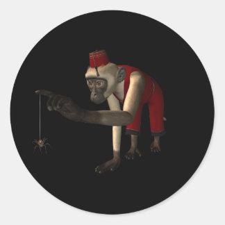 mono y araña - color del Hurdy-Gurdy 3D Pegatina Redonda