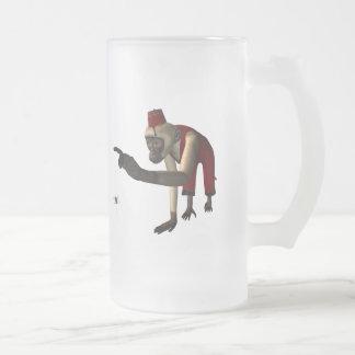mono y araña - color del Hurdy-Gurdy 3D Taza De Cristal