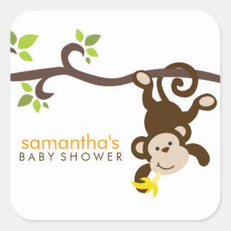 Mono y lunares etiquetas