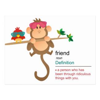Mono y pájaro lindos del dibujo animado con las tarjetas postales