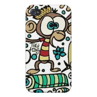 Mono y pájaros locos iPhone 4 fundas