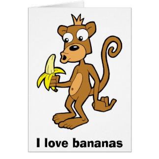 Mono y plátano, amo plátanos. Tarjeta de felicitac