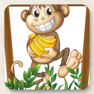 Mono y plátano posavasos de bebida
