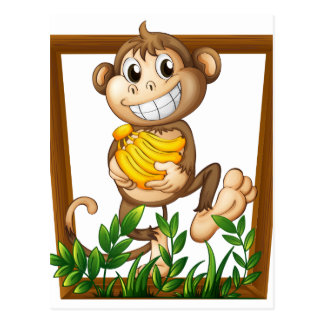 Mono y plátano postal