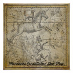 Monoceros Unicorn Star Map Constellation Astronomy Poster