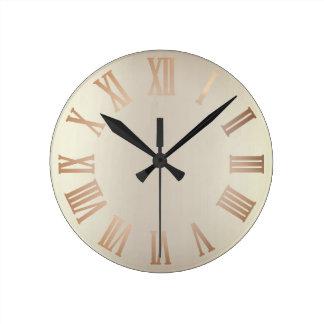 Monochrom Glitter Bronze Sepia Ombre Minimal Black Round Clock