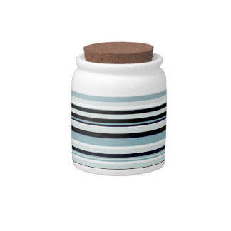 Monochromatic and blue accented horizontal lines candy jars