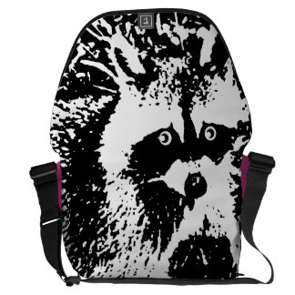"""Monochromatic """"black and white"""" cute raccoon courier bag"""