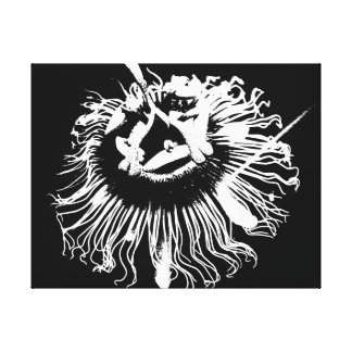 """Monochromatic """"black and white""""graphic flower canvas prints"""