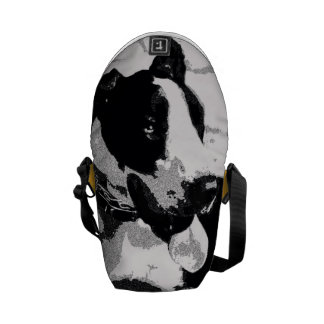 "Monochromatic ""black and white"" great dane dog messenger bag"
