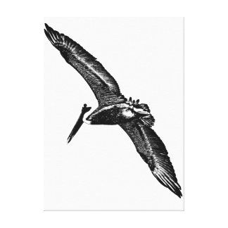 """Monochromatic """"black and white"""" pelican photo art gallery wrapped canvas"""