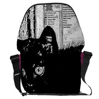 "Monochromatic ""black and white"" prunella black cat courier bags"