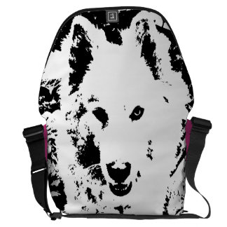 "Monochromatic ""black and white"" samoyed husky dog messenger bag"