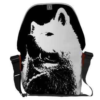 "Monochromatic ""black and white"" samoyed pup dog messenger bag"