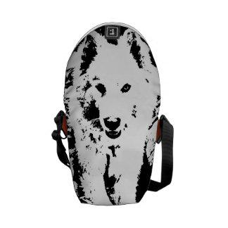 "Monochromatic ""black and white"" samoyed puppy dog courier bag"