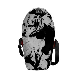 "Monochromatic ""black and white"" very cool pitbull messenger bag"