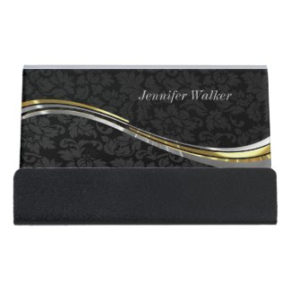 Monochromatic Black Damask And Gold Silver Accents Desk Business Card Holder