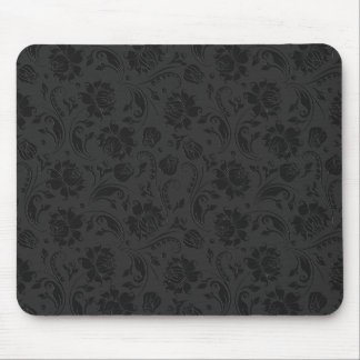 Monochromatic Black & Dark Gray Floral Damasks Mouse Pad