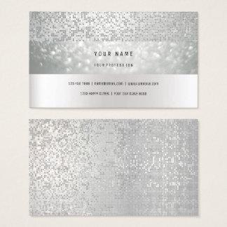 Monochromatic Bokhe Stripes Delicate Glam Silver Business Card