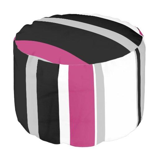 Monochromatic Bold Fuchsia Stripe Round Pouf