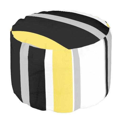 Monochromatic Bold Yellow Stripe Sturdy Round Pouf