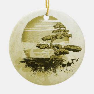Monochromatic Bonsai and Sun Double-Sided Ceramic Round Christmas Ornament