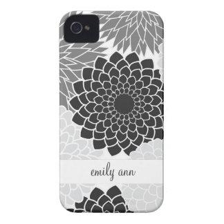 Monochromatic  Flowers Illustration Pattern Case-Mate iPhone 4 Case
